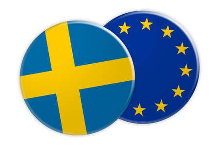 Politics News Concept: Sweden Flag Button On EU Flag Button, 3d illustration on white background