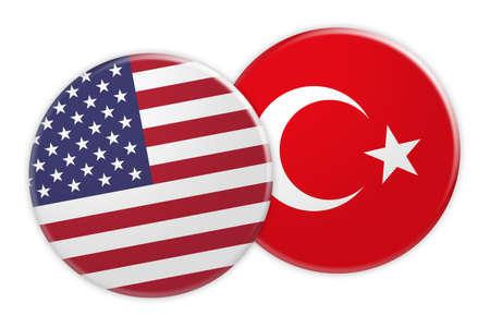 Politics News Concept: US Flag Button On Turkey Flag Button, 3d illustration on white background