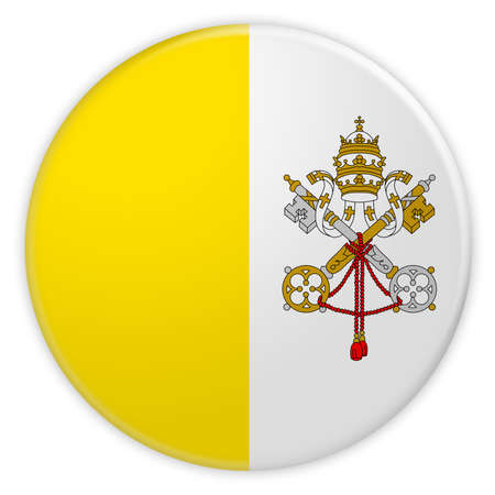 touristic: Vatican City Flag Button, News Concept Badge, 3d illustration on white background