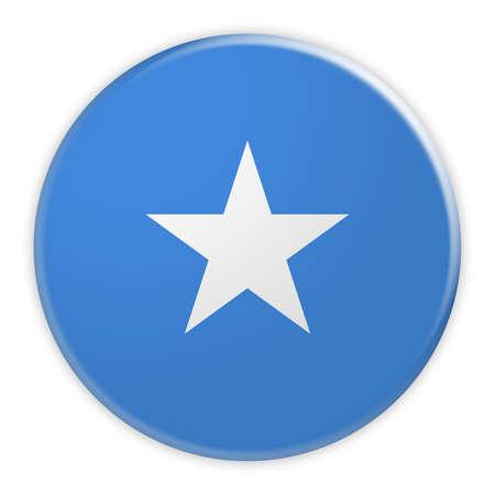 Somalia Flag Button, News Concept Badge, 3d illustration on white background