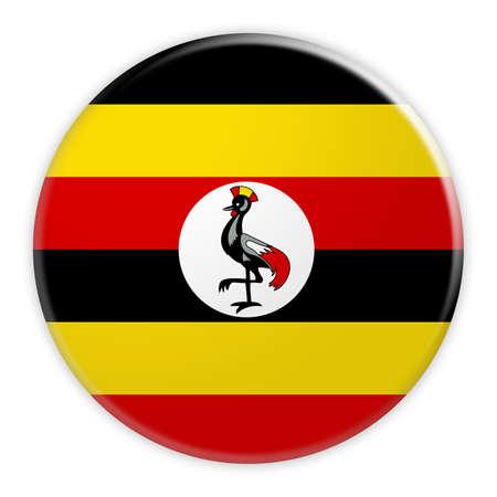 Uganda Flag Button, News Concept Badge, 3d illustration on white background Stock Photo