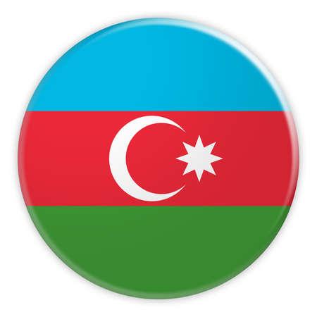Azerbaijan Flag Button, News Concept Badge, 3d illustration on white background