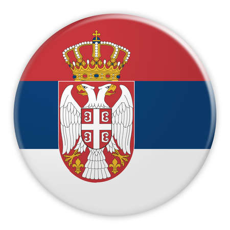 Serbia Flag Button, News Concept Badge, 3d illustration on white background
