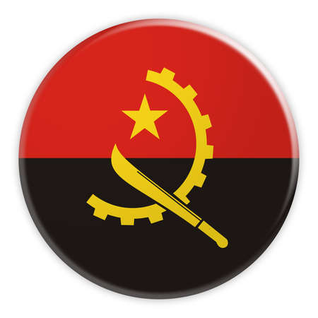 Angola Flag Button, News Concept Badge, 3d illustration on white background