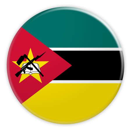 Mozambique Flag Button, News Concept Badge, 3d illustration on white background
