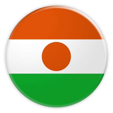 Niger Flag Button, News Concept Badge, 3d illustration on white background