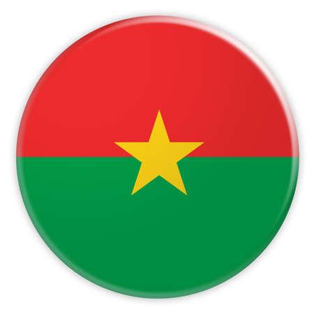 Burkina Faso Flag Button, News Concept Badge, 3d illustration on white background Stock Photo