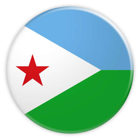 Djibouti Flag Button, News Concept Badge, 3d illustration on white background Stock Photo