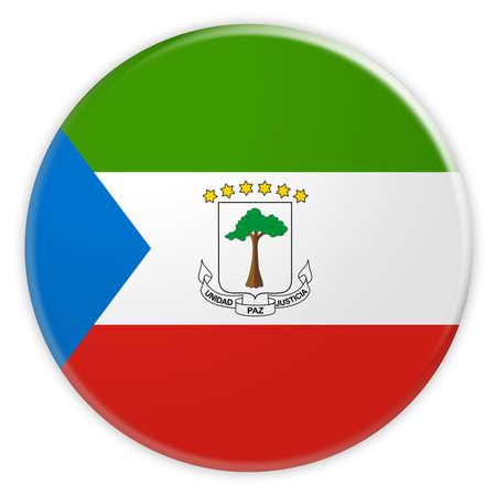 Equatorial Guinea Flag Button, News Concept Badge, 3d illustration on white background