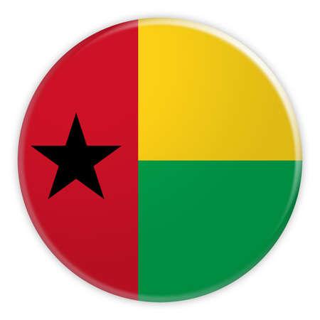 Guinea Bissau Flag Button, News Concept Badge, 3d illustration on white background