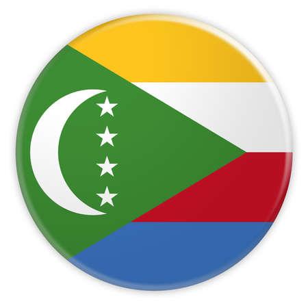 The Comoros Flag Button, News Concept Badge, 3d illustration on white background Stock Photo