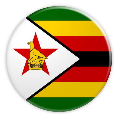 Zimbabwe Flag Button, News Concept Badge, 3d illustration on white background
