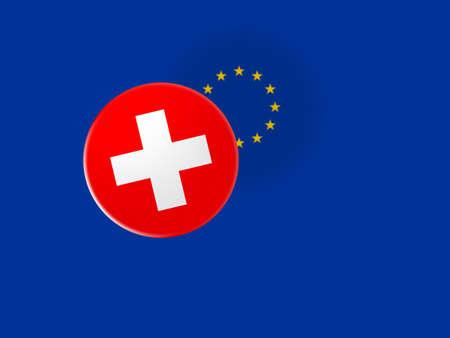 trade union: European Union Trade Concept: Switzerland Flag Button On Blurred EU Flag, 3d illustration