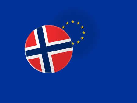 norway flag: European Union Trade Concept: Norway Flag Button On Blurred EU Flag, 3d illustration