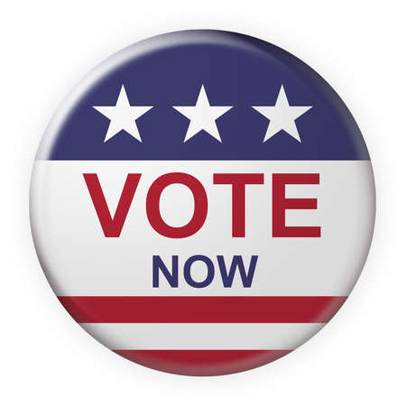USA Election Concept Badge: Vote Now Button With US Flag, 3d illustration on white background