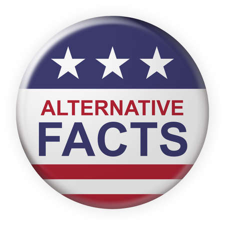 USA Media Concept Badge: Alternative Facts Button With US Flag, 3d illustration on white background