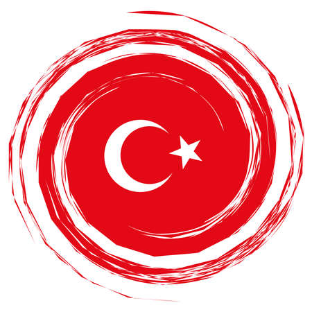 Red Turkey Flag Whirlpool, illustration on white background Banco de Imagens - 74794592