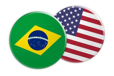 News Concept: Brazil Flag Button On USA Flag Button, 3d illustration on white background