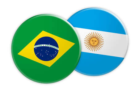 News Concept: Brazil Flag Button On Argentina Flag Button, 3d illustration on white background