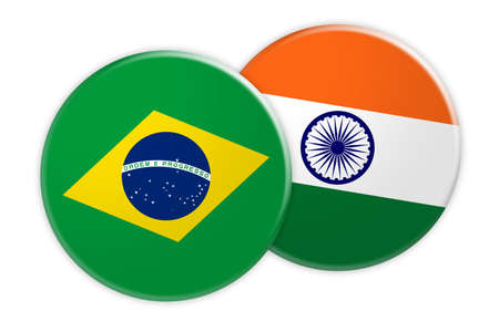 News Concept: Brazil Flag Button On India Flag Button, 3d illustration on white background