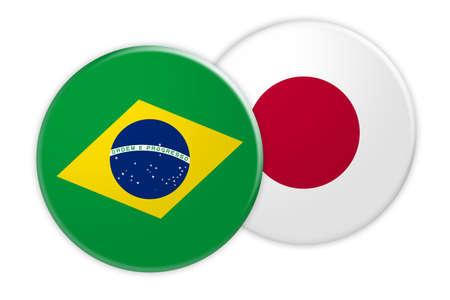 News Concept: Brazil Flag Button On Japan Flag Button, 3d illustration on white background Stock Photo