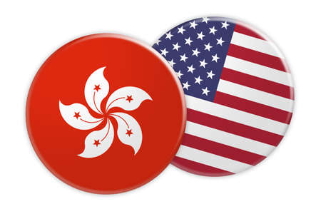 News Concept: Hong Kong Flag Button On USA Flag Button, 3d illustration on white background