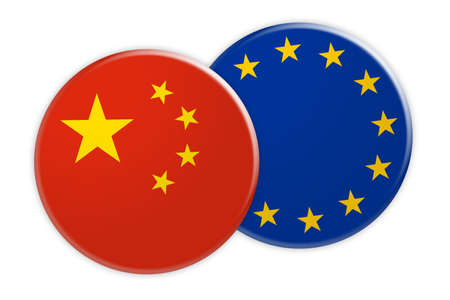 treaty: News Concept: China Flag Button On EU Flag Button, 3d illustration on white background Stock Photo