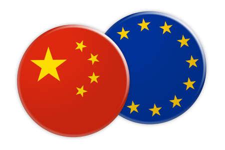 News Concept: China Flag Button On EU Flag Button, 3d illustration on white background Stock Photo