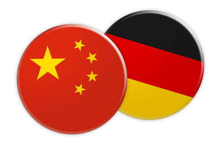 News Concept: China Flag Button On Germany Flag Button, 3d illustration on white background