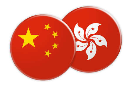 News Concept: China Flag Button On Hong Kong Flag Button, 3d illustration on white background