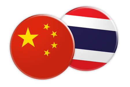 treaty: News Concept: China Flag Button On Thailand Flag Button, 3d illustration on white background