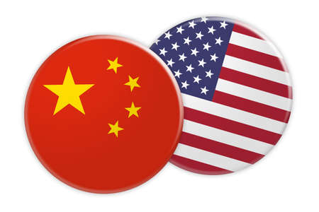 News Concept: China Flag Button On USA Flag Button, 3d illustration on white background Stock Photo
