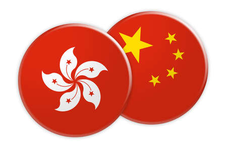 News Concept: Hong Kong Flag Button On China Flag Button, 3d illustration on white background Stock Photo
