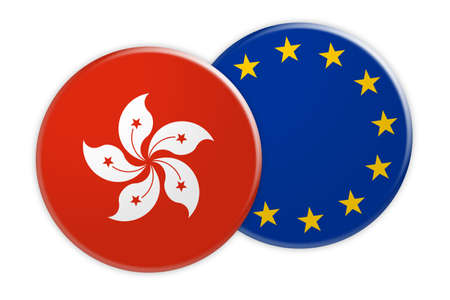News Concept: Hong Kong Flag Button On EU Flag Button, 3d illustration on white background