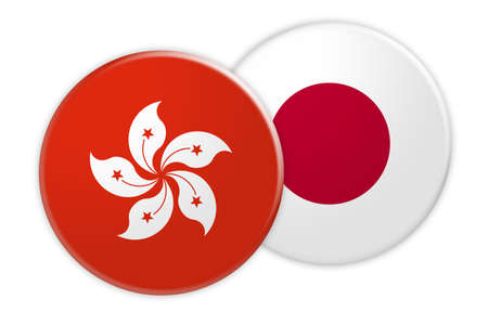 News Concept: Hong Kong Flag Button On Japan Flag Button, 3d illustration on white background