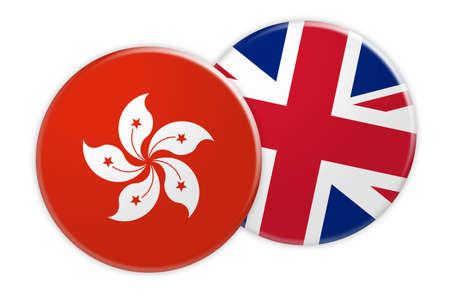 News Concept: Hong Kong Flag Button On UK Flag Button, 3d illustration on white background
