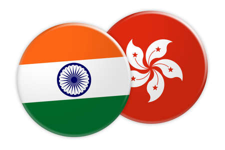 News Concept: India Flag Button On Hong Kong Flag Button, 3d illustration on white background Stock Photo