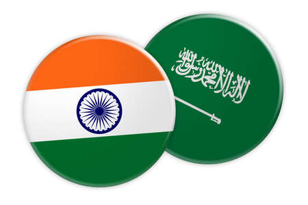 News Concept: India Flag Button On Saudi Arabia Flag Button, 3d illustration on white background Stock Photo