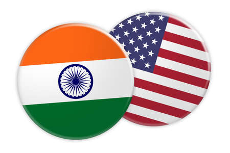News Concept: India Flag Button On USA Flag Button, 3d illustration on white background
