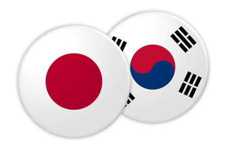 News Concept: Japan Flag Button On South Korea Flag Button, 3d illustration on white background Stock Photo