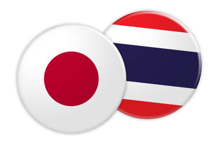 News Concept: Japan Flag Button On Thailand Flag Button, 3d illustration on white background Stock Photo