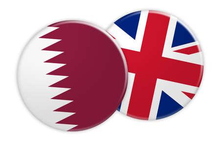 News Concept: Qatar Flag Button On UK Flag Button, 3d illustration on white background