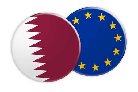 News Concept: Qatar Flag Button On EU Flag Button, 3d illustration on white background