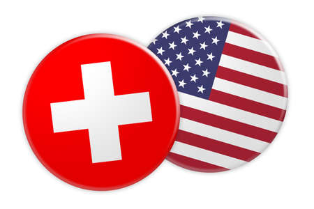 News Concept: Switzerland Flag Button On USA Flag Button, 3d illustration on white background