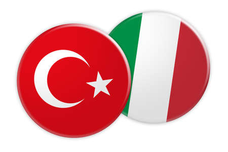 News Concept: Turkey Flag Button On Italy Flag Button, 3d illustration on white background