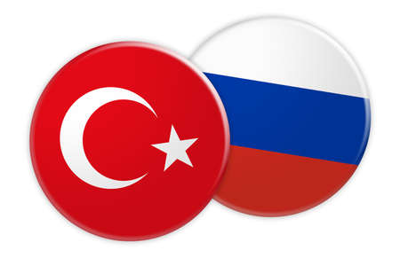 News Concept: Turkey Flag Button On Russia Flag Button, 3d illustration on white background Stock Photo