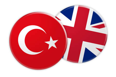 News Concept: Turkey Flag Button On UK Flag Button, 3d illustration on white background Stock Photo
