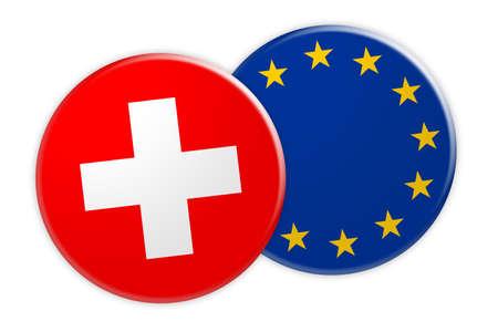 News Concept: Switzerland Flag Button On EU Flag Button, 3d illustration on white background Stock Photo