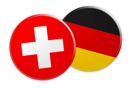 News Concept: Switzerland Flag Button On Germany Flag Button, 3d illustration on white background