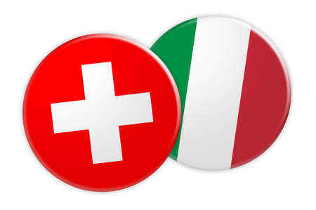 News Concept: Switzerland Flag Button On Italy Flag Button, 3d illustration on white background Stock Photo